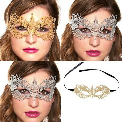Eye Mask Fancy Dress New Gold Silver LACE Masquerade Gothic Hen Party Halloween