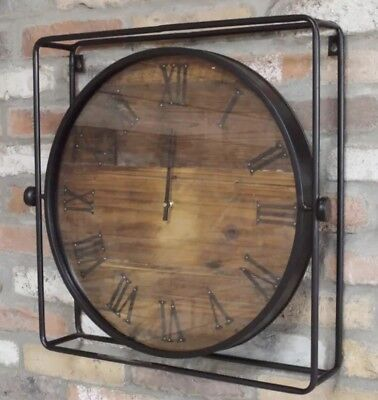 Large 55cm Wood Metal Industrial Vintage Style Square Skeleton Wall Clock
