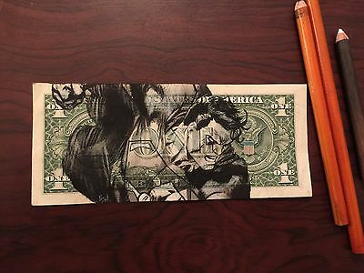 Superman $2 Hobo Dollar One Two Dollar Bill Original Art Real Money