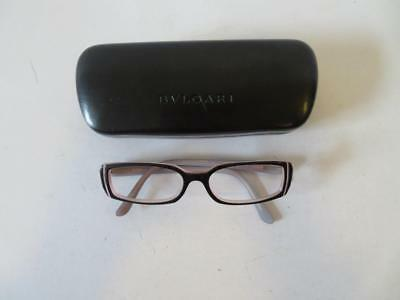 Womens Bvlgari Black & Pink Crystal Eyeglass Frames No Lens W/case & Dust Cloth*