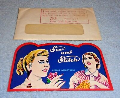 Vintage Sew and Stitch Needle Assortment Book- Sold by Deaf w/ Envelope- Unused