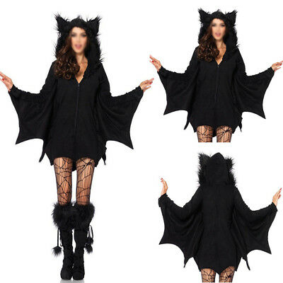 Bat Costume Sexy Adult Halloween Party Vampire Cosplay Fancy Dress Outfits M-4XL