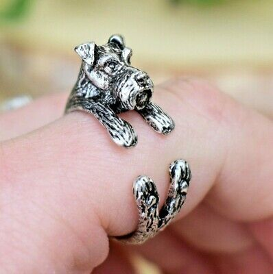 Schnauzer Dog Ring - Adjustable Wrap Animal Ring - Silver Dog Lover Gift