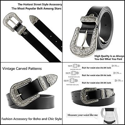 9791f71dbb Women Leather Belts Ladies Vintage Western Design Black for Pants Jeans  Dresses