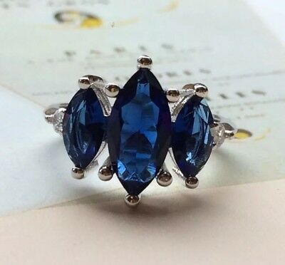 925 Sterling Silver Art Deco Vintage Trilogy Blue White Sapphire Zirconia Ring P