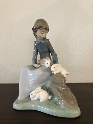 NAO by Lladro Young Girl with Rabbits 1026 Porcelain Figurine