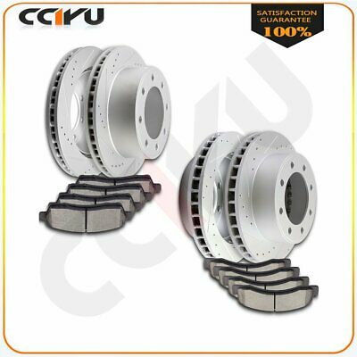 Front & Rear 4 Drilled Slot Brake Rotors And Ceramic Pads For F250 F350 4WD 4X4