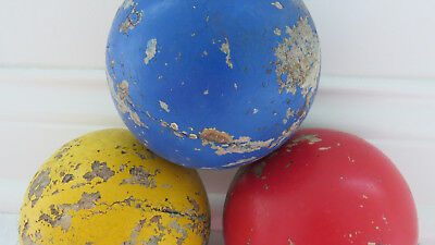 3 Old Vintage Shabby Chippy Paint Bocce Balls Italy Garden Chic Porch Home Decor