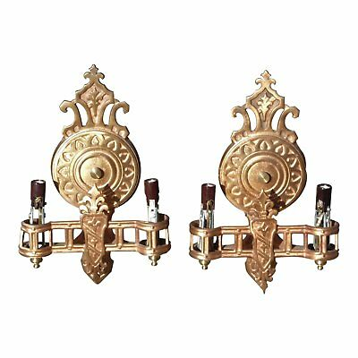Vintage Pair Hollywood Regency French Art Deco Metal Wall Sconces Lincoln Mfg Co