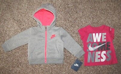 Nike Long Sleeve Girl's Hoodie Jacket 12 Months Gray/Pink