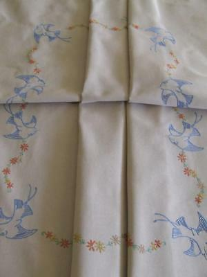 Hand Embroidered Vintage Tablecloth - Blue Birds - Crocheted Edging