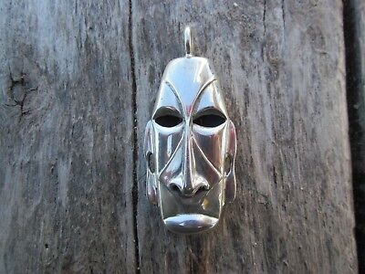 Antique  Rare  African Mask Sterling Silver