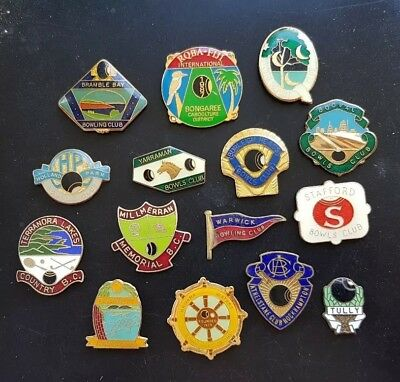 15x QLD BOWLING CLUB BADGES *CLASPS REMOVED**