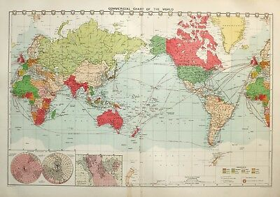 1913 LARGE MERCANTILE MARINE MAP BRITISH EMPIRE etc COMMERIAL CHART WORLD ROUTES