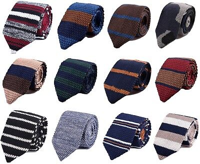 Men's Hand made Knit Knitted Tie Slim Woven Pointed UK Striped block