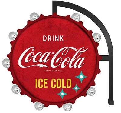 """Coca Cola Metal LED Bulb Wall Sign 20"""" Coke Cap Shaped Double Sided Marquee"""