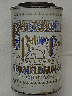 PERFECTION Baking Powder GEORGE MELDRUM&Co Chicago Tin Can STENCILED&Paper Label