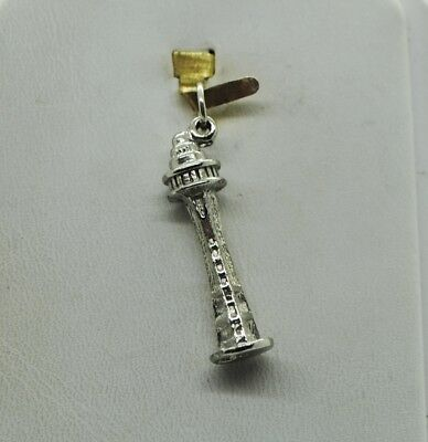 Sterling Silver Small Seattle Space Needle Shape Design Charm/pendant#fma839