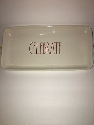 Rae Dunn By Magenta Large Platter Celebrate LL Red Holiday New