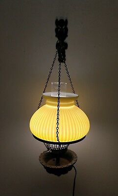 Cast Wall Victorian Lamp light w/ Hardware, Yellow Milk Glass Shade, Beautiful!