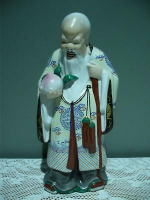 Vintage Chinese Bearded Elder With Peach Figurine - Shou - Longevity - Large- Gc