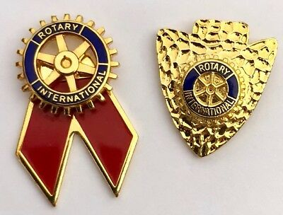 2 Rotary International lapel pins- Arrowhead & Red Ribbon Logo Pins