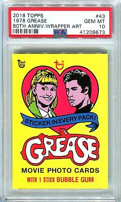 2018 Topps 80th Anniversary Wrapper Art #43 ~ 1978 Grease SSP /287 ~ PSA 10