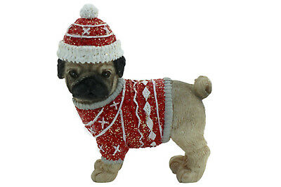Pug Dog Xmas Figurine Ornament in Red Jacket Approx 6x6cm
