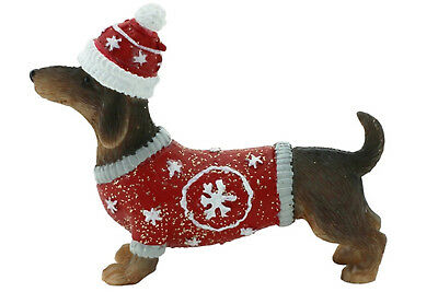 Dachshund Dog Xmas Figurine Ornament in Red Jacket Approx 6x7cm