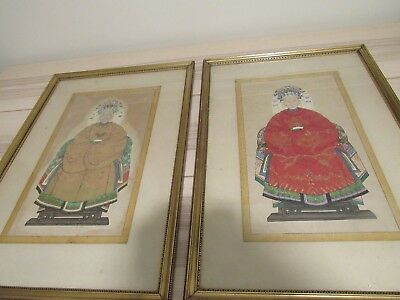 """Chinese Ancestor Painting Ancestry Portrait Paper Scroll Pair 28""""x19"""""""