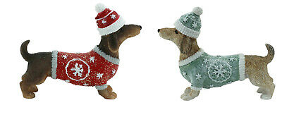 Dachshund Dog Xmas Figurine Ornament Set of 2 Approx 6x7cm