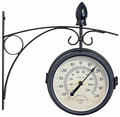 Greenwich Swivel Metal Garden Station Wall Clock with Thermometer in Black - 15c