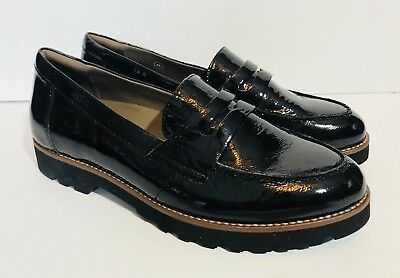 New Earthies Women's Braga Penny Loafer 9 Shiny Black Tumbled Patent Shoes New