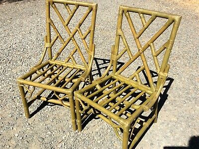 Pair (2) Mid Century MCM Green Wood Faux Bamboo Dining Chairs Chippendale