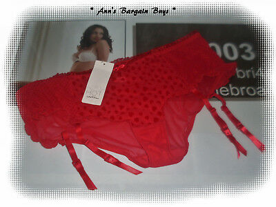 Hot Options-Women's-Size-18-Spotted-Lace-panty & Suspenders-Scarlet Red-BNWT