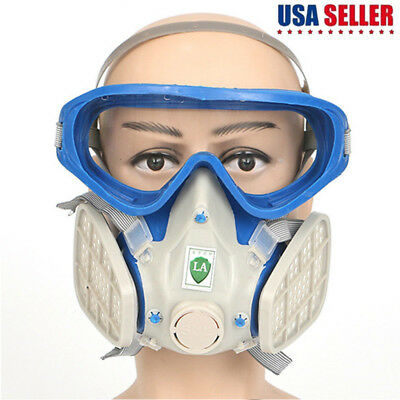 Full Face Respirator Mask Double Filter Air Breathing Dust Chemical Protection