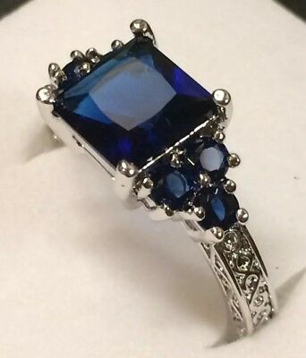 Art Deco / Vintage 10kt White Gold Blue Sapphire Scroll Claw Ring Size N AD320