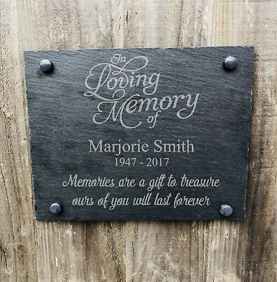 Personalised Engraved In Loving Memory Rustic Slate Memorial Grave Sign Plaque