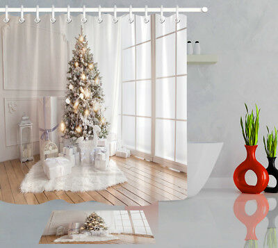 Interior Living Room Christmas Tree and Gifts Waterproof Fabric Shower Curtain