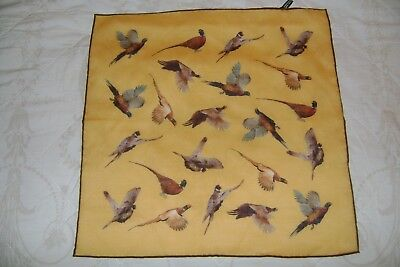 "Hand made Macclesfield silk & wool blend square 15.5"" pheasants gold hand rolled"