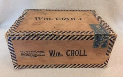 Antique Cigar Wood Box Wm. CROLL Factory No 1514 1st District PA Series of 1917