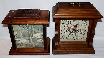 Vintage MANTLE CLOCK LOT OF 2 IN WORKING CONDITION - WOOD CASING W/ HANDLES
