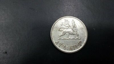 Ethiopia 1944 (Ee1936)  Silver 50 Cents Lion Coin