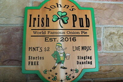 Personalized Irish Pub Sign Plaque Wood Home Bar Signs Mancave Decor Beer Custom