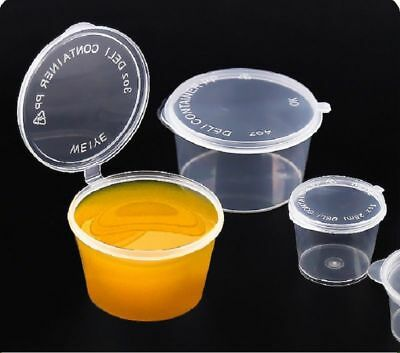 100pcs Disposable Clear Plastic Sauce Chutney Cups Food Container Storage Box GB
