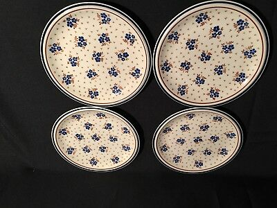 """NEWCOR Country Fields Vintage Stoneware Salad (4) Plates 7 1/2"""" Made in Japan"""