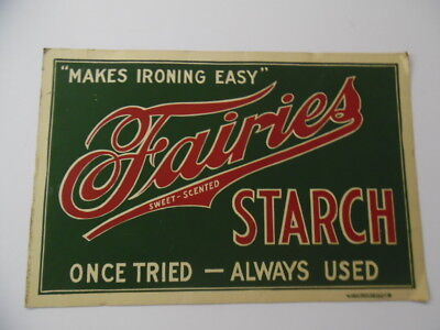 c.1920 FAIRIES STARCH Store Advertising Sign Laundry Chicago Antique ORIGINAL VG