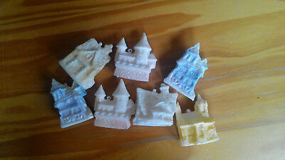 9 pc LOT Glittery Frosted Vintage CHRISTMAS VILLAGE 7 light covers + 2 hangers