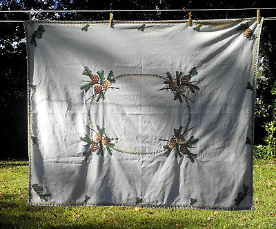"""Homemade Christmas tablecloth 48"""" x 60"""" pine boughs cones berries Shabby Cabin"""