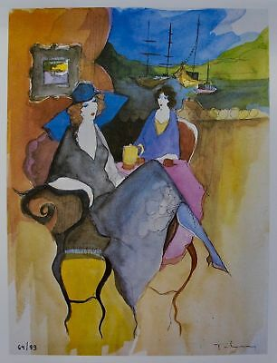 Itzchak Tarkay SOMBER MOMENT Signed Limited Edition   Lithograph